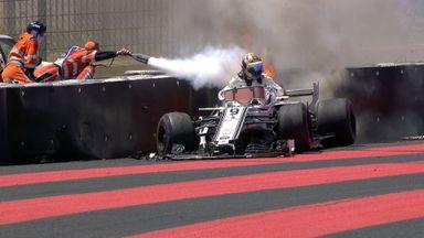 Ericsson's Sauber catches fire
