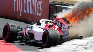 Ericsson's Sauber catches fire
